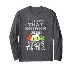Unisex Funny St Patricks Day Couples Drinking T-Shirt Husband Wife Large Dark Heather