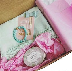 Blush Gift Box Set – Lightweight Summer Wrap, Candle, Natural Stone Bracelet, Quote. Mom,  ...