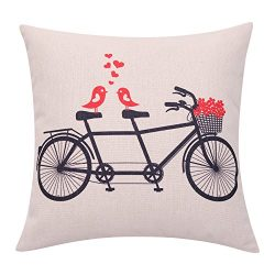BreezyLife Valentines Day Throw Pillow Cover Love Birds with Flower Basket Decorative Pillow Cas ...
