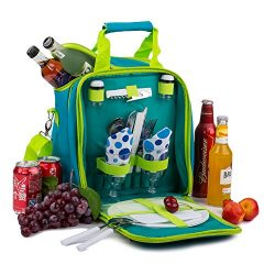APOLLO WALKER Picnic Basket Bag Set, 2 Person Insulated Tote with Cooler Compartment Includes Ta ...
