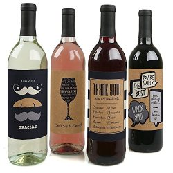 Thank You – Wine Bottle Labels Thank You Gift – Set of 4