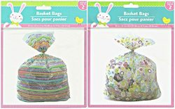Easter Decorated Gift Basket Cellophane Bags Bundle – 2 Pk 4 22 x 25 Bags (Easter A)