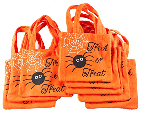 Halloween Spider and Web Fabric Loot Bags for Party or Trick or Treat Pack of 8 Bags