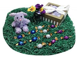 Easter or Mothers Day Gift Basket Box With Godiva Gourmet Chocolate Truffles, Spring Floral Acce ...