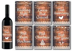 6 Rustic Wedding Milestones Gift Wine Bottle Labels or Sticker Covers, Bridal Shower, Firsts For ...