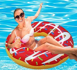 RiffSpheres Gigantic Donut Pool Float Raft – Red Summer Giant Inflatable Donut Pool Floats ...