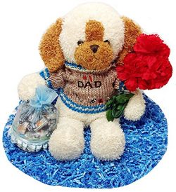#1 Dad Fathers Day 15″ Plush Dog With Flowers & Basket of Candy