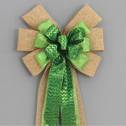 Burlap Green Chevron Christmas St. Patrick's Day Wreath Bow – available in 2 sizes
