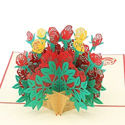 3D Pop Up Anniversary Card – Bold Red Rose Overflowing Wicker Basket for All Occasions Tha ...