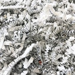 Black Cat Avenue 1 LB White & Silver Crinkle Cut Paper Shred Filler For Gift Wrap and Basket ...
