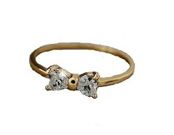 Basket Hill Watches and Gifts Gold Plated and CZ Small Bow Ring for Girl or Women (9)