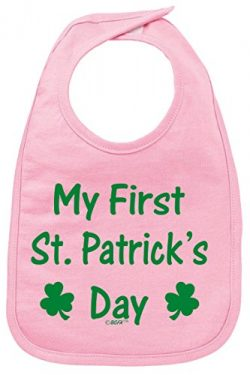 Funny Baby Clothes Baby Shower Gifts My First St Patricks Day Shamrock Cute Baby Bib Pink
