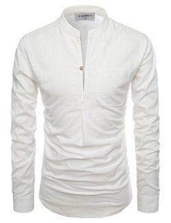 NEARKIN (NKNKN351) Henley Neck Light Weight Chinese Collar Cool Linen Shirts IVORY US XL(Tag siz ...