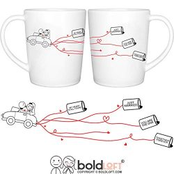 BOLDLOFT Happily Ever After Couples Coffee Mugs-His and Hers Wedding Gifts for Bride Groom Coupl ...