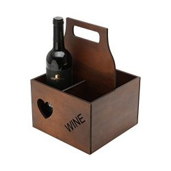 Wooden Wine or Beer Caddy / Holder / Tote / Basket / Carrier / Crate (4 compartments, Wine- Dark ...