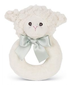 Bearington Baby Lamby Plush Stuffed Animal Cream Lamb Soft Ring Rattle, 5.5″