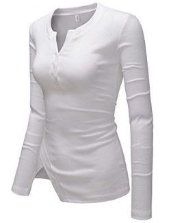 NEARKIN (NKNKWBT70) Womens Vneck Slim Cut Henley Long Sleeve City Casual Tshirts WHITE US S(Tag  ...
