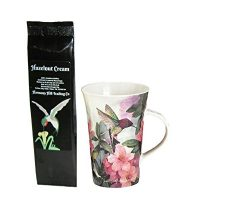 Hummingbird and Pink Azalea Flowers Coffee Mug Cup with Hazelnut Cream Coffee Gift Set 2 Item Bundle