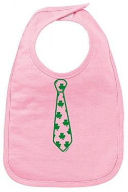 Funny Baby Clothes Baby Shower Gifts Shamrock Necktie Cute St Patricks Day Baby Bib Pink
