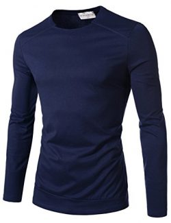 NEARKIN (NKNKTE6001) Sewing Line Point Long Sleeve Roundneck T-shirts NAVY US S(Tag size S)