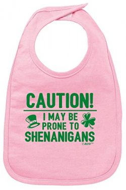 Funny Baby Clothes Baby Shower Gifts Prone to Shenanigans St Patricks Day Baby Bib Pink