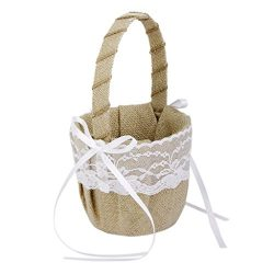 DGQ Burlap Flower Basket Vintage Retro Lace Bow Wedding Flower Girl Basket for Wedding Ceremony  ...