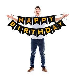 Treasures Gifted Happy Birthday Banner Gold and Black Garland Sparkling Glitter Letters for Dram ...