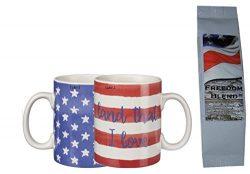 Patriotic Flag Coffee Mug and Coffee Gift Set – Stars Stripes Land that I Love 2-Sided Mug ...