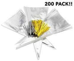 "200 15"" x 7"" Clear Cone-Shaped Treat, Favor & Popcorn Bags (200 Bags + 200 Twist Fastens); L ..."