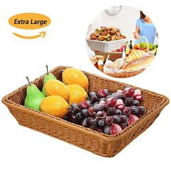 Extra Large Poly-Wicker Bread Basket Rectangle Imitation Rattan for Food Serving Restaurant Kitc ...