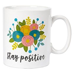 Ceramic Coffee Mug with Handle – Stay Positive, Large Stoneware Tea Cup with Floral Design ...
