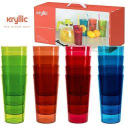 Plastic Tumblers Drinkware Glasses Cups – Acrylic Tumbler Set of 16 Break Resistant 20 oz. ...