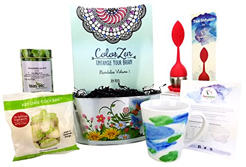 Teapiphany Tea and Adult Coloring Relaxation Gift Basket with Watercolor Latte Mug (Chocolate Pu ...