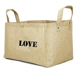Nursery Storage Bin, Closet Organizer Eco Friendly Jute Basket For Clothes or Toy LOVE