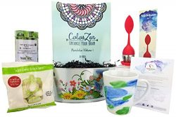 Teapiphany Tea and Adult Coloring Relaxation Gift Basket with Watercolor Latte Mug (Earl Grey Or ...