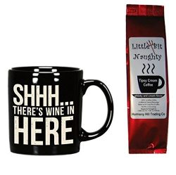 Wine Coffee Mug and Coffee Gift Set – Shhh There's Wine in Here Mug and Little Bit N ...