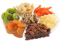 Nut Cravings Large Dried Fruit Prime Gift Basket | Variety Of 7-Section Gourmet Assorted Dried F ...