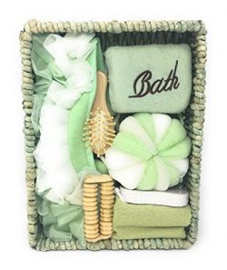 Deluxe Bath Spa Gift Set for Women – Pastel Green 7 Piece Gift Basket – Great Wedding, Birthday, ...