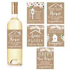 5 Rustic House Warming Presents, New Homeowner Stickers or Wine Label Gift Set Ideas, Congrats H ...