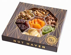 Nut Haven Gourmet Assorted Dried Fruit & nuts Gift Basket/Box ~ variety of 7 section dried f ...