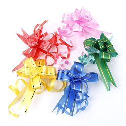 EORTA 100 Pieces Pull Bows Gift Knot Ribbons with Glittering Strings Gift/Flower/Basket Wrapping ...