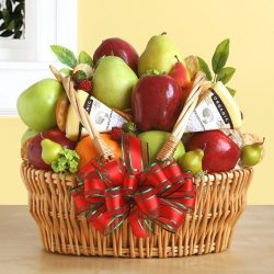 Fruit and Cheese Gourmet Gift Basket Mother's Day Gift Idea Valentines Gift Idea Birthday  ...