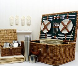 The Chelsea 4 Person Luxury Wicker Picnic Basket Set includes Accessories – Gift ideas for ...