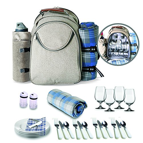Scuddles Upgraded Picnic Backpack Lunch Bag – 4 Person Set With Insulated Waterproof Pouch ...