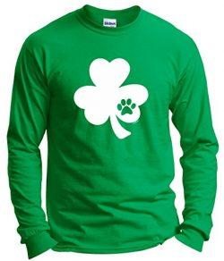 Funny St Patricks Day Shirt St Pattys Day Pawprint Shamrock Dog Cat Lover St Patricks Day Long S ...