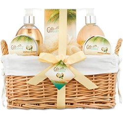 Spa Gift Basket for Women With Tropical Coconut Fragrance in Large Willow Basket | Includes Bubb ...