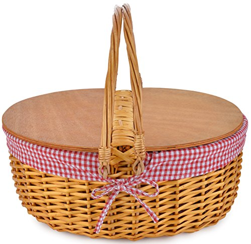 Willow Wicker Storage Basket Hamper Handles Natural Wooden: Picnic Basket With Double Folding Handles