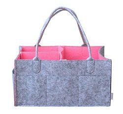 BeeChamp Portable Baby Diaper Bag Large Storage Insert Organizer Felt Basket for Wipes Toys Chan ...