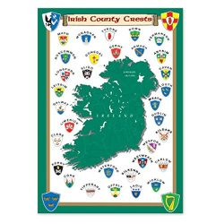 Carrolls Irish Gifts Irish T-Towel With County Crests And Map Of Ireland