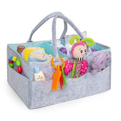 Baby Diaper Caddy Organizer Grey – Large Size – Portable Travel – Great for Ch ...